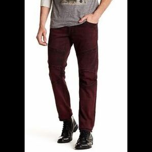 True Religion Rocco Slim Fit Red Moto Jeans
